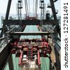 detail of the port crane. - stock photo