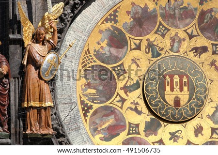Detail of the Prague Astronomical Clock in the Old Town of Prague