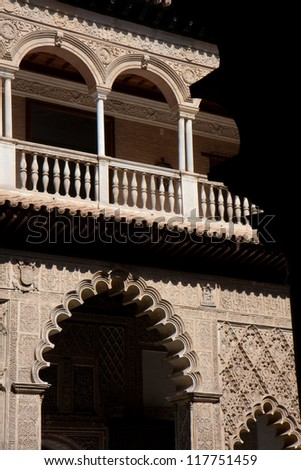 Detail of the Real Alcazar, Seville, Andalusia. - stock photo