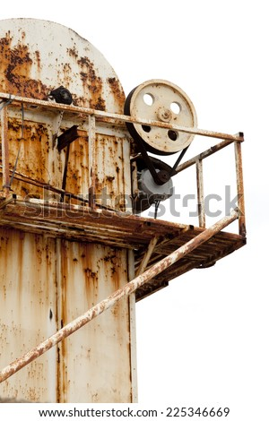 Detail of the roof of an old rusty factory. Old factory detail.   - stock photo