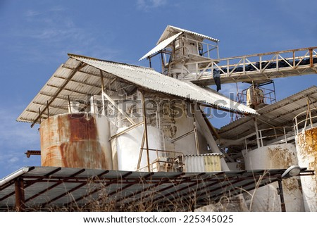 Detail of the roof of an old withe factory. Old factory detail.   - stock photo