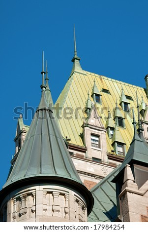 Detail of the roof of Chateau Frontenac in the old Quebec City - stock photo