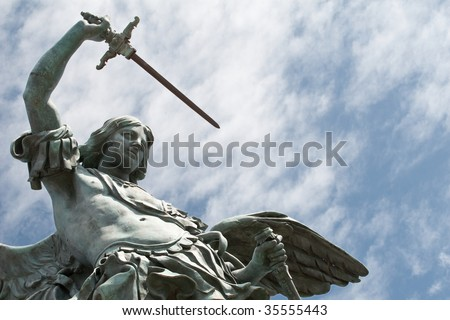 Detail of the Saint Michael statue on the top of Castel Sant`Angelo in Rome - stock photo