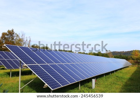 Detail of the Solar Power Station in the autumn Nature - stock photo