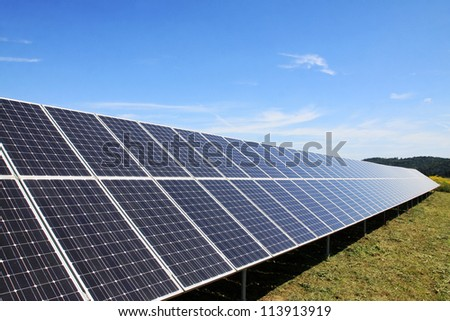 Detail of the Solar Power Station in the green summer Nature