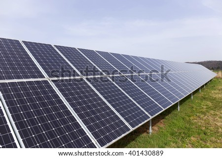 Detail of the Solar Power Station on the spring Meadow  - stock photo