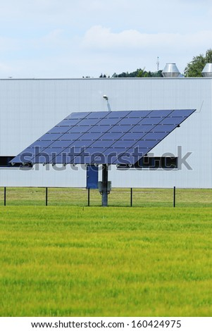 Detail of the Solar Power Station on the summer Meadow