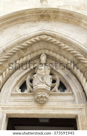 Detail of the St. Mark Cathedral at Korcula island, Croatila - stock photo