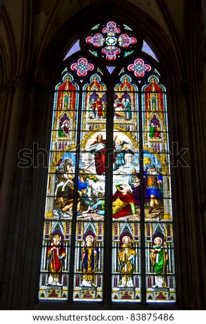 detail of the stained glass windows in the cathedral of cologne