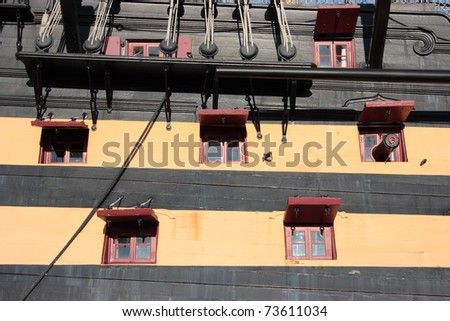 Detail of the starboard side of Lord Nelson's HMS Victory - stock photo