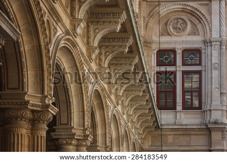 Detail of the State Opera building in Vienna, Austria - stock photo
