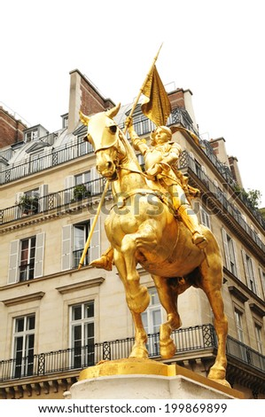 Detail of the statue of Joan of Arc in Paris, France