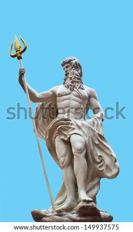 Detail of the statue of Poseidonon on isolated blue background at venezia hua hin Thailand  - stock photo