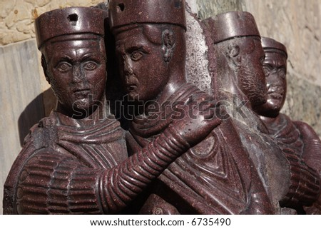 Detail of the statue of the tetrarchs on San Marco Square in Venice - stock photo