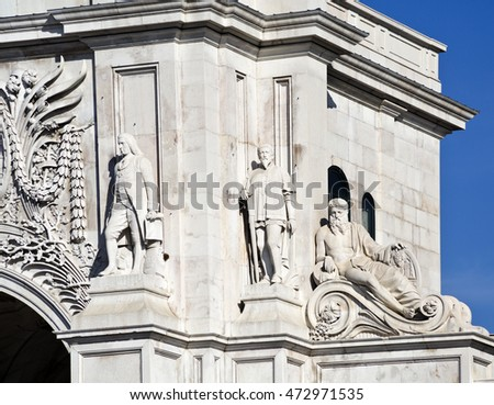 Detail of the statues of Marquis of Pombal and Nuno Alvares Pereira and the representation of the Douro River on the left of the the south facade of the Rua Augusta Arch, in lisbon, Portugal