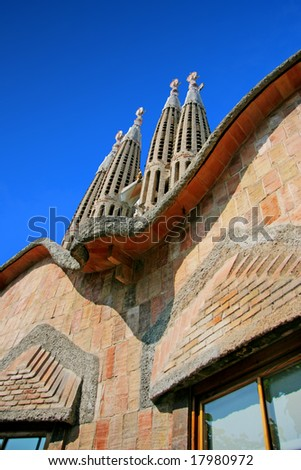 Detail of the temple of the Sagrada Familia in Barcelona, Spain - stock photo