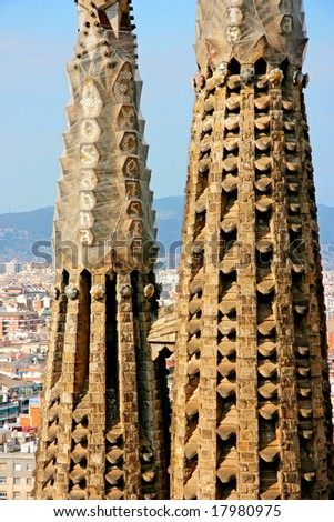 Detail of the temple of the Sagrada Familia in Barcelona, Spain