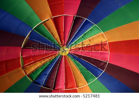 Detail of the top of a colorful hot air balloon - stock photo