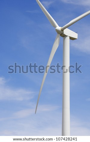 detail of the top of a windmill for renewable energy production - stock photo