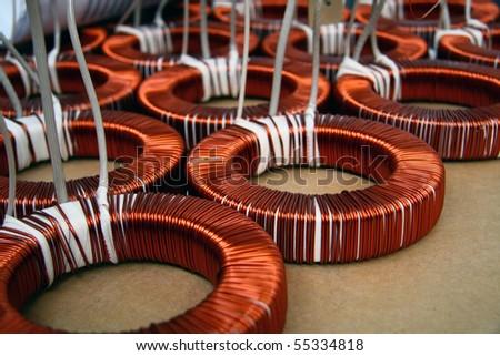 Detail of the toroidal coils - stock photo