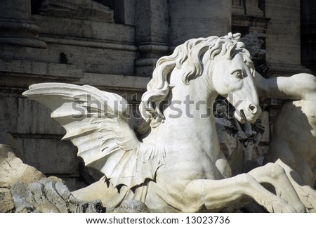 Detail of the Trevi fountain in Rome, Italy - stock photo