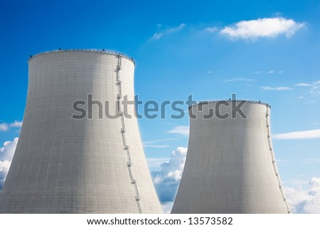 Detail of the twin cooling towers, nuclear power plant. - stock photo