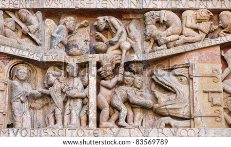 Detail of the tympanum of the Last Judgment, Conques, France - stock photo