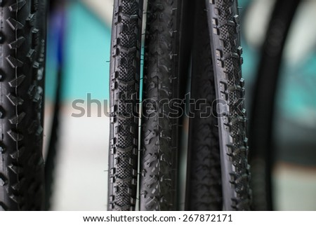 detail of the tyre of a bike - stock photo