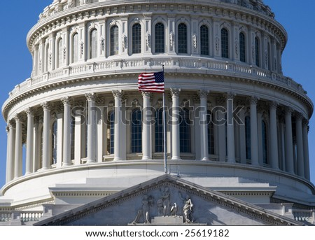 Detail of the United States Capitol Building in Washington DC