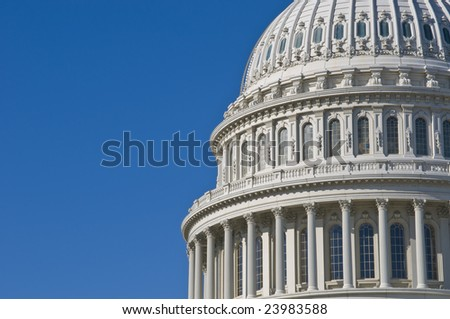 Detail of the United States Capitol Building in Washington DC with plenty of copy space - stock photo