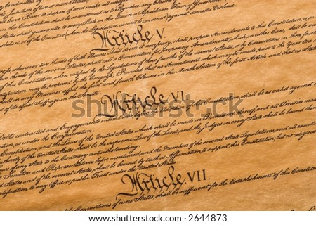 Detail of the United States Constitution - stock photo