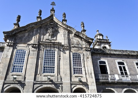 Detail of the upper section of the facade of a Church in Braga, Portugal - stock photo