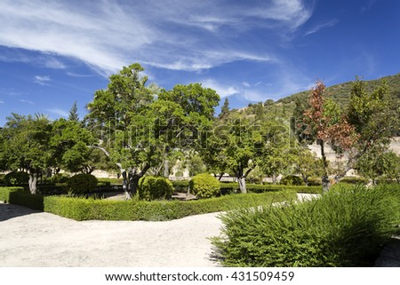 Detail of the Upper Terrace garden at Medina Azahara medieval palace-city near Cordoba, Spain - stock photo