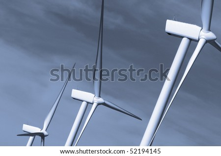 detail of three windmills in monochromatic tones - stock photo