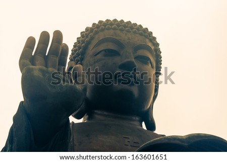 detail of Tian Tan Buddha at Po Lin monastery - stock photo