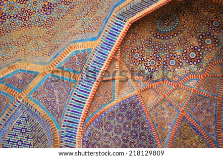 Detail of tile work (Shah Jahan Mosque) - stock photo