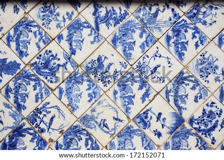 detail of tradition floor in Chinese style palace of Wehart Chamrunt in Bang Pa-In palace, Ayutthaya, Thailand. - stock photo