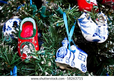 Detail of traditional Christmas decorations in Holland