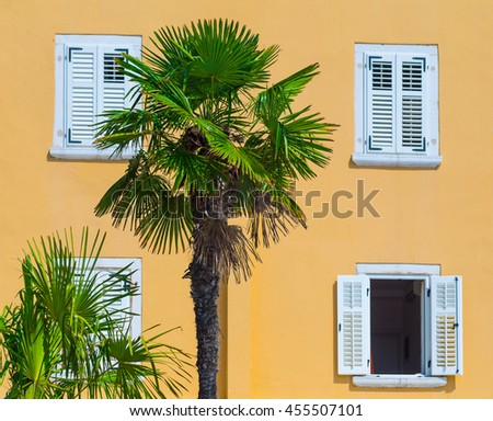 Detail of traditional European Mediterranean architecture, yellow building made of lime stone in the afternoon light and palm trees. - stock photo