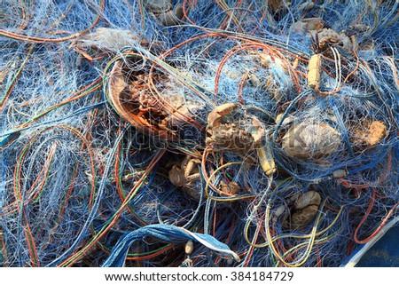 Detail of trawl fishing nets - stock photo