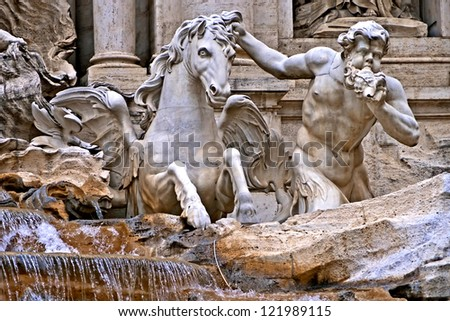 Detail of Trevi fountain, Rome, Italy - stock photo