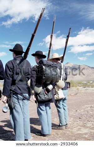 detail of troop uniforms at a civil war reenactment at Picacho Peak State Park, Arizona - stock photo