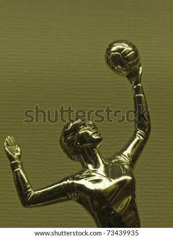 Detail of trophy for women's volleyball on display in trophy case - stock photo