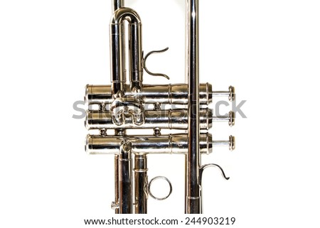 Detail of trumpet closeup - stock photo