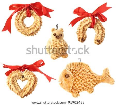 Detail of typical christmas decorations isolated on white background - stock photo