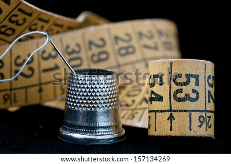Detail of typical objects of a tailor - stock photo