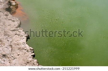 Detail of unique steaming spring champagne pool in Wai-O-Tapu geothermal area, Rotorua, New Zealand  - stock photo