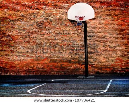 Detail of urban basketball court hoop bball streetball city - stock photo