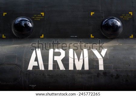Detail of US army helicopter fuselage remnant of the Vietnam war on display in Ho Chi Minh City (Saigon), Vietnam.  - stock photo