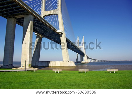 Detail of Vasco da Gama Bridge and surrouding park in Lisbon Portugal